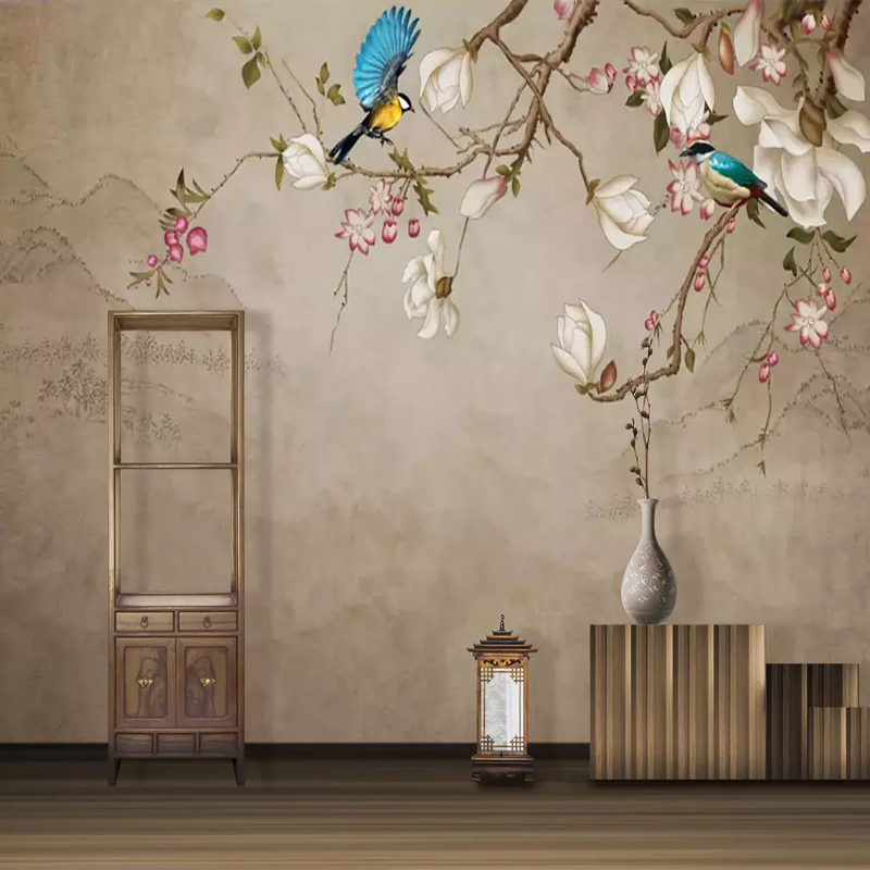 Custom Photo Wallpaper Mural Flower Bird Magnolia Living Room TV Background Wall Painting Papel De Parede Wall Papers Home Decor