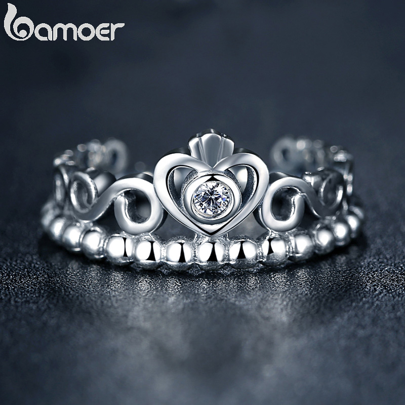 BAMOER Fashion Silver Color My Princess Queen Crown Stackable Ring for Women Wedding