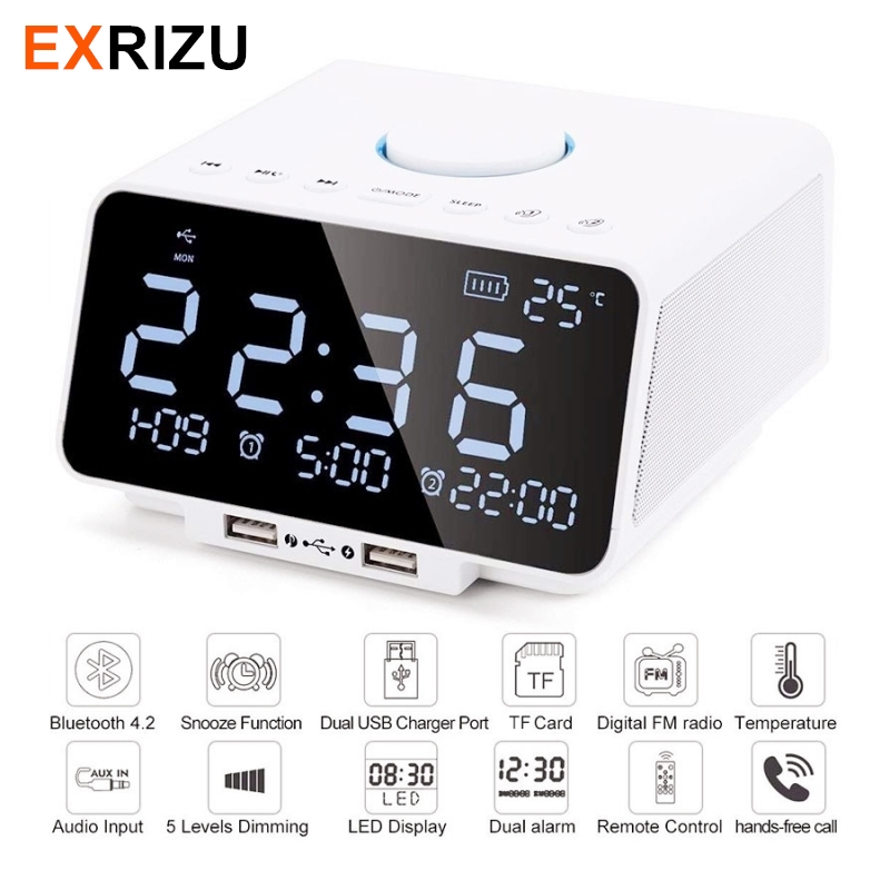 EXRIZU Wireless Bluetooth Speaker Built-in 4400mAh Subwoofer Support AUX TF FM Radio Handsfree Alarm Clock with 5.5