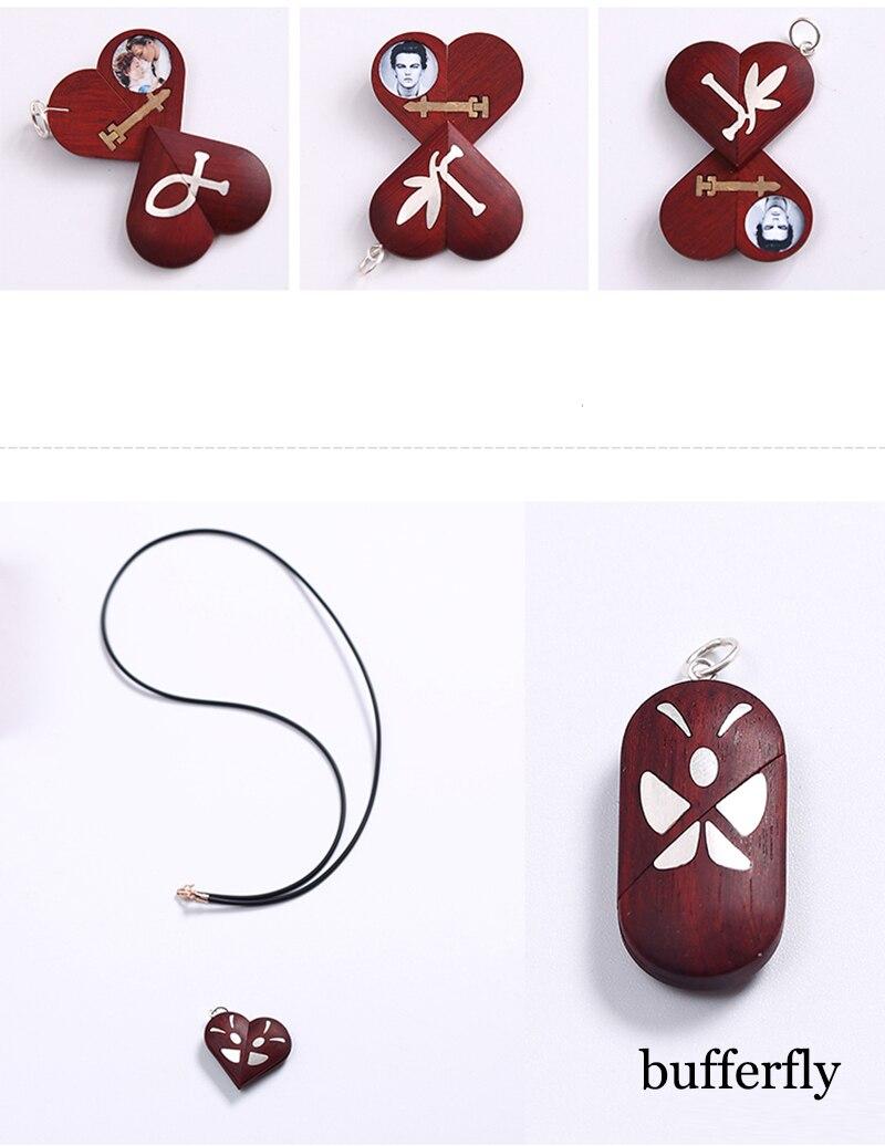 Fait à la main personnaliser bois croix collier pendentif peut changer coeur médaillon forme papillon collier bijoux femmes hommes cadeau - 5