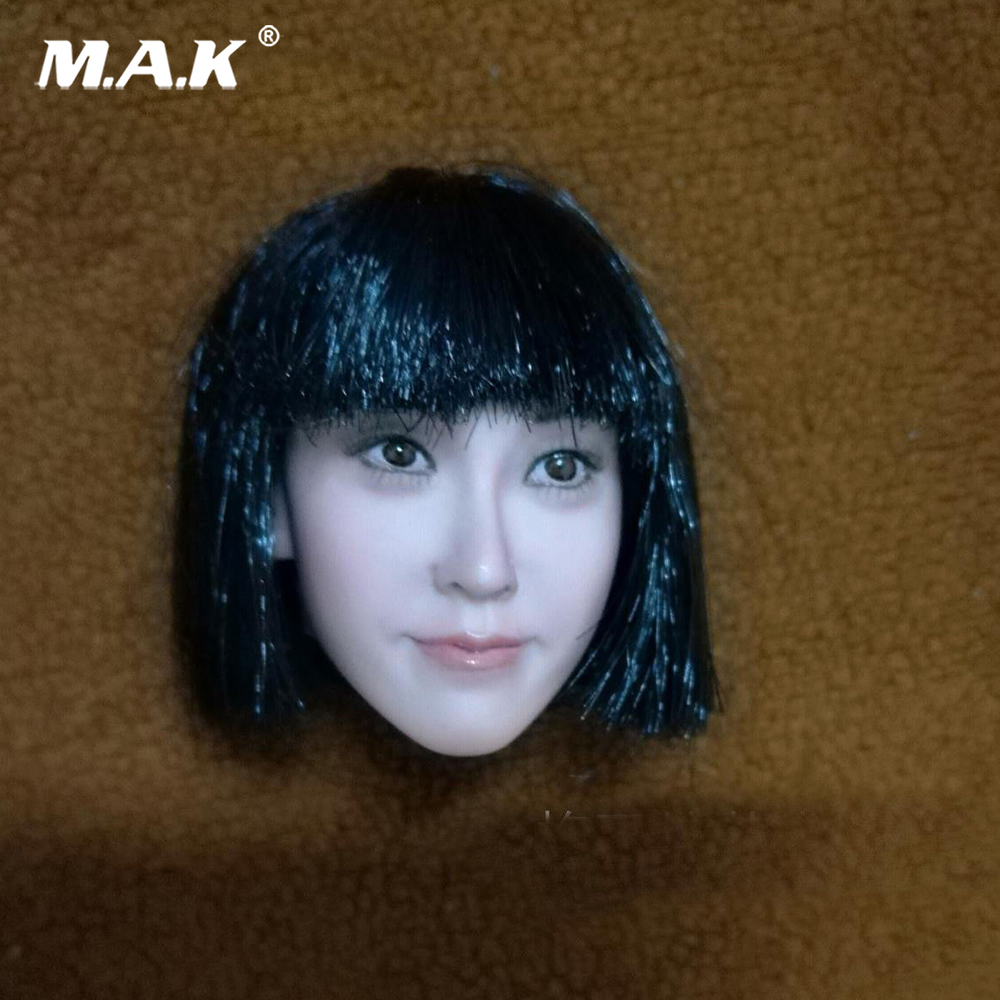 Us 47 25 27 Off Collection 1 6 Female Asian Girl Qi Liuhai Big Face Head Sculpt Pale Bob Haircut Head Sculpt For 12 Ph Body Action Figure In