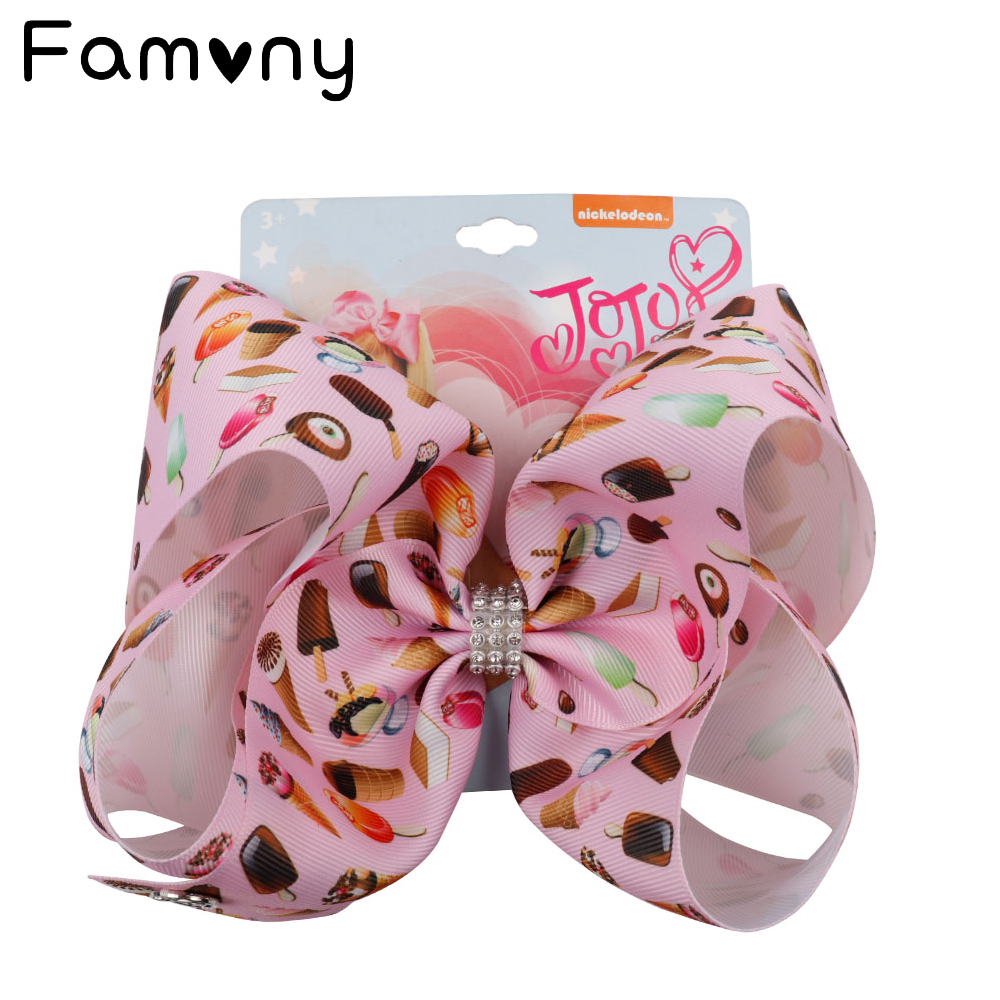 7Inch Large Print Hair Bows Fashion Rhinestone Knot Hair Clips For Girls Ribbon Boutique Winter Christmas Party Hair Accessories