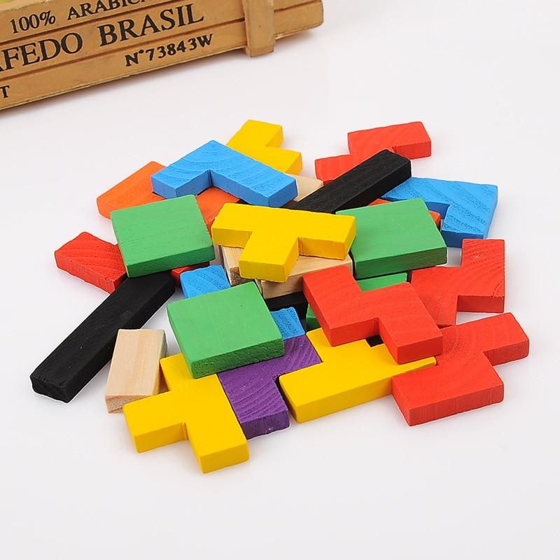 Vruće prodaja šarene drvene tangram mozgalice puzzle igračke - Igre i zagonetke - Foto 3