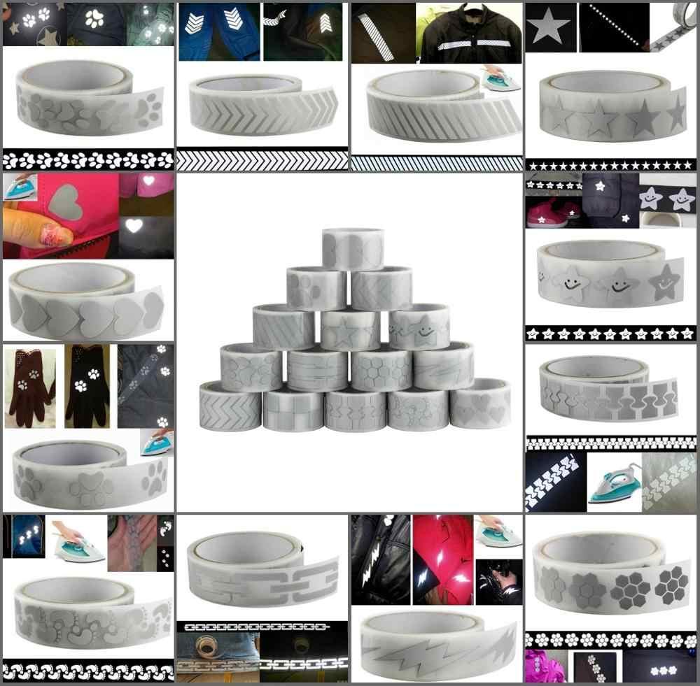 """Hoge Zichtbaarheid Veiligheid Warmte-overdracht Vinyl Film DIY Zilveren Reflecterende Ijzer op Stof Kleding Tape 25mm * 5m (1 """"* 5.5Y)"""