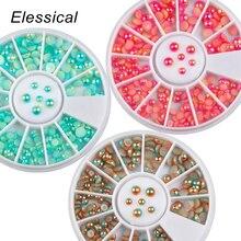 ELESSICAL Green Pink Resin Rhinestones Nail Charms UV Nail G