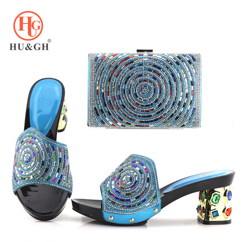 New Rayol Blue Color Italian Shoes with Matching Bags Nigerian Women Wedding Shoes and Bag Set African shoe and bag for party стоимость