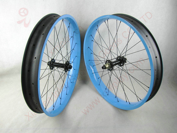 IPLAY 26 fat tire bicycle wheels 100mm width UD carbon fat font b bike b font