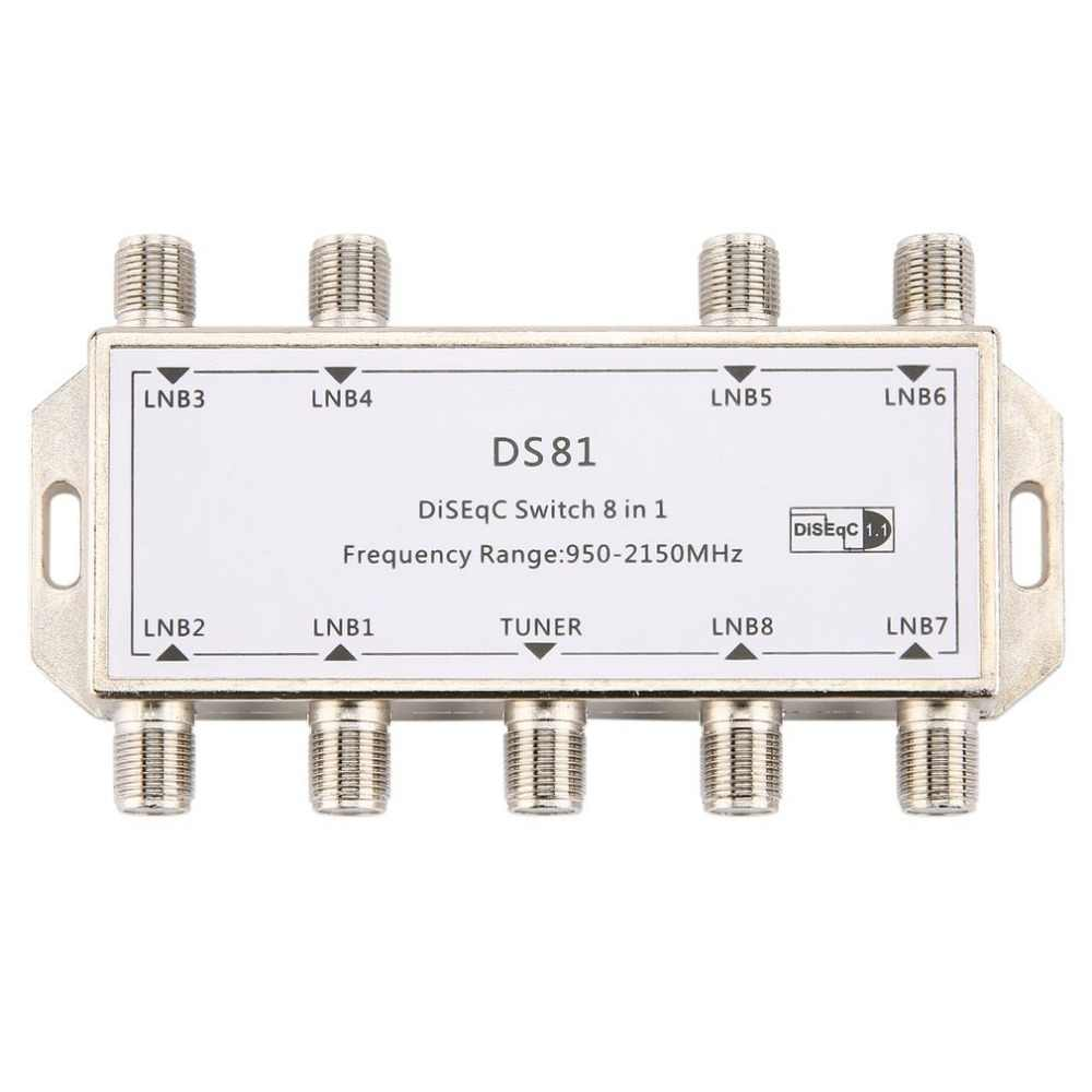 DS81 commutateur Signal Satellite 8 en 1 | Commutateur LNB récepteur Multiswitch, Zinc robuste moulé au Chrome traité