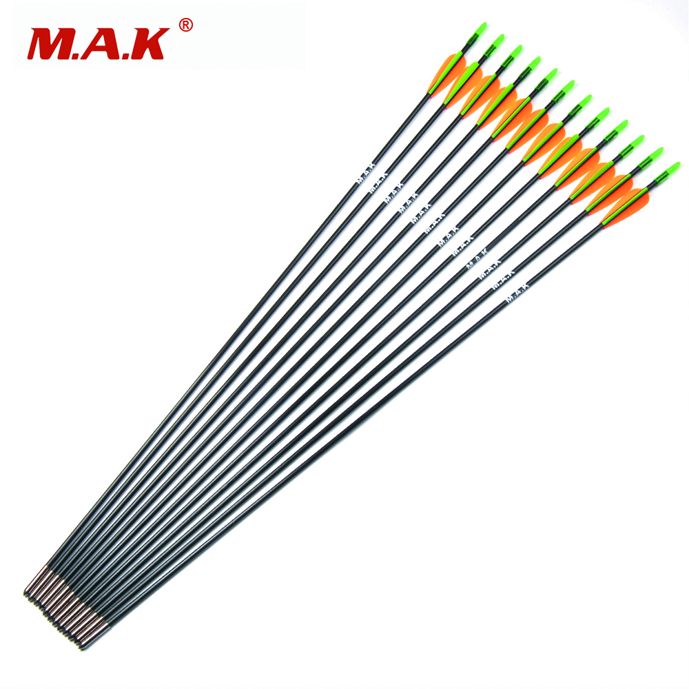 6/12/24 pcs Fiberglass Arrow 30 Inches Diameter 6 mm 2 Orange 1 Green Plastic Vanes for Recurve Bow Archery Hunting Shooting
