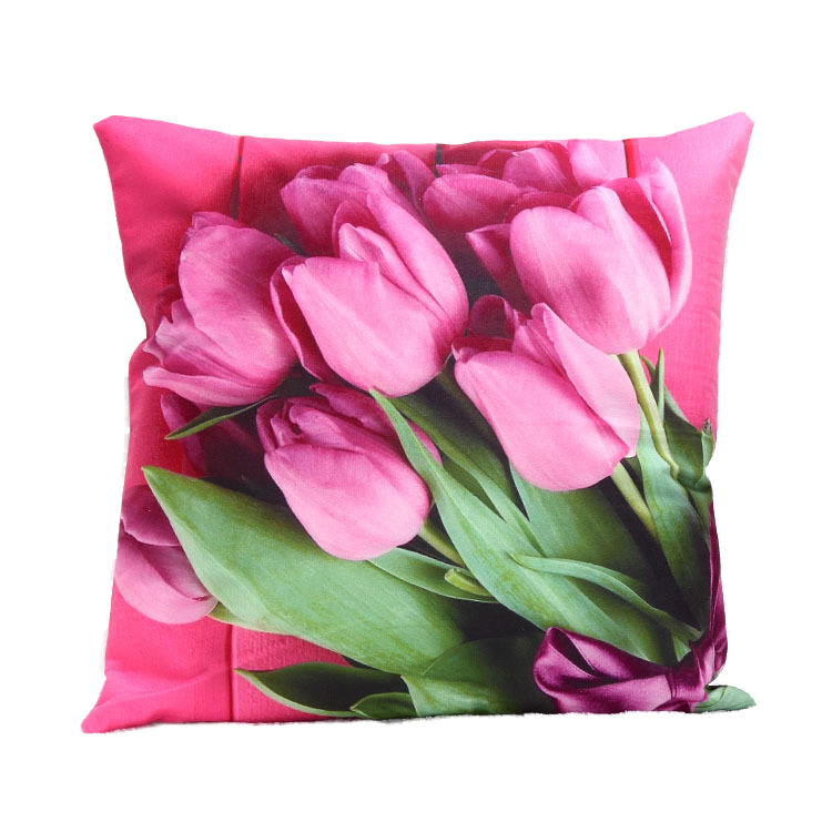 1Pcs 45x45cm 3D Red Tulip Pringting Bedroom Throw Pillow Case Home Rose  Red(China (