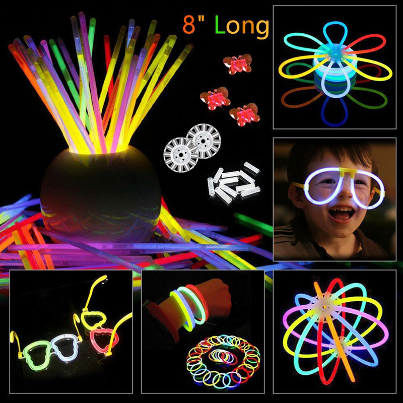 20PCS Glow Stick Accessories Connector Colorful Glow In The Dark Fluorescence Bracelets Festival Xmas Party Glowstick Kids Toy
