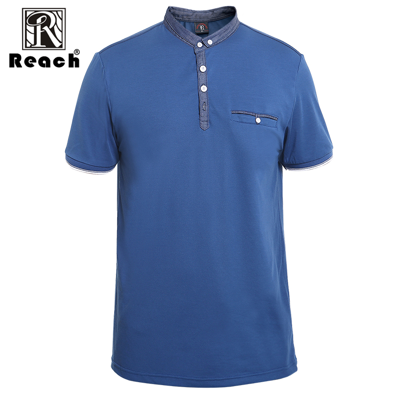 reach Polo Shirts Men Short Sleeve Summer Men Polo Shirt Pocketed With Pocket Cotton Slim Fit Button Pullover Casual Business navy fake pocket design short sleeve men s cotton men s polo shirt