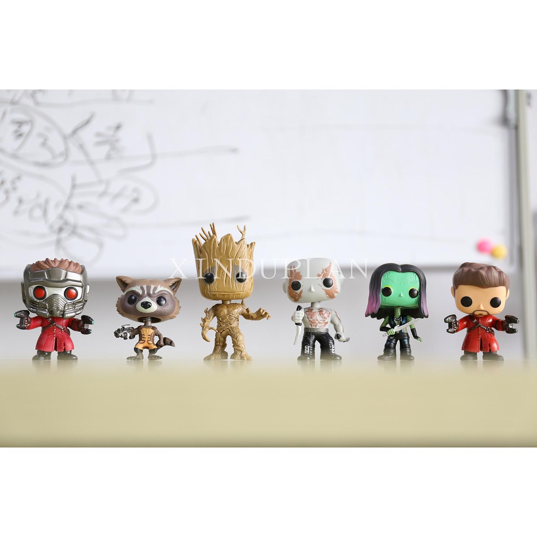 XINDUPLAN Funko pop Guardians of Galaxy Star-Lord Rocket Raccoon Groot Drax Gamora Vinyl Action Figure Toys 10cm PVC Model 0891 new funko pop guardians of the galaxy tree people groot