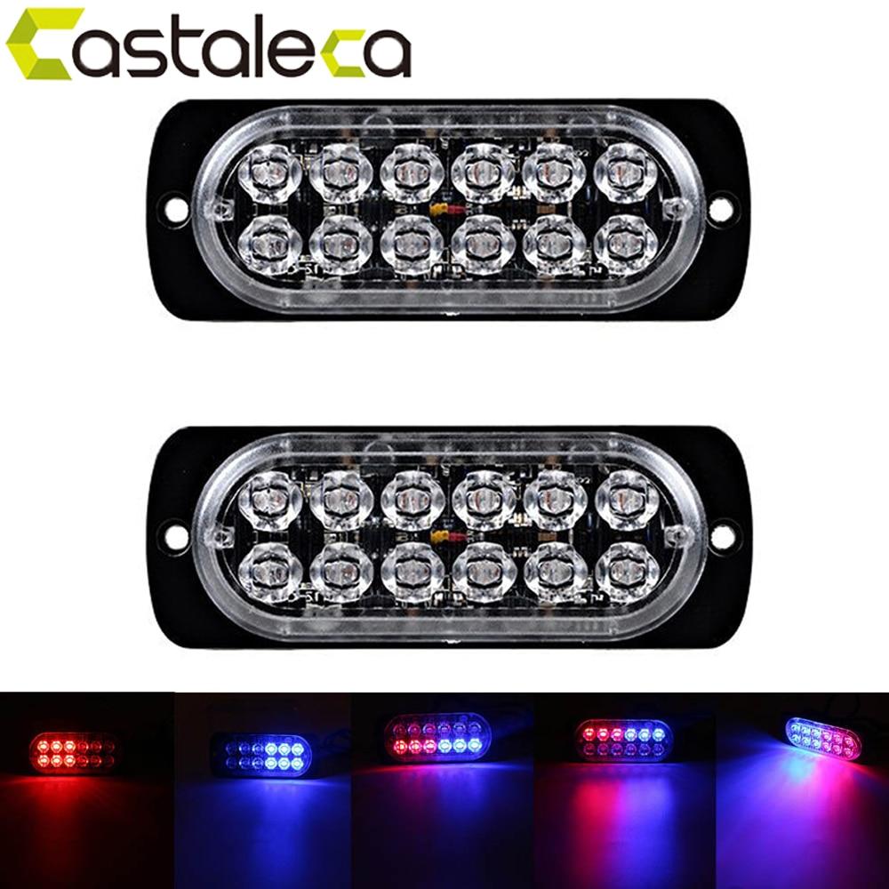 castaleca car lights 2X Side marker strobe lights 12 LED Ultra thin Emergency warning Light 19