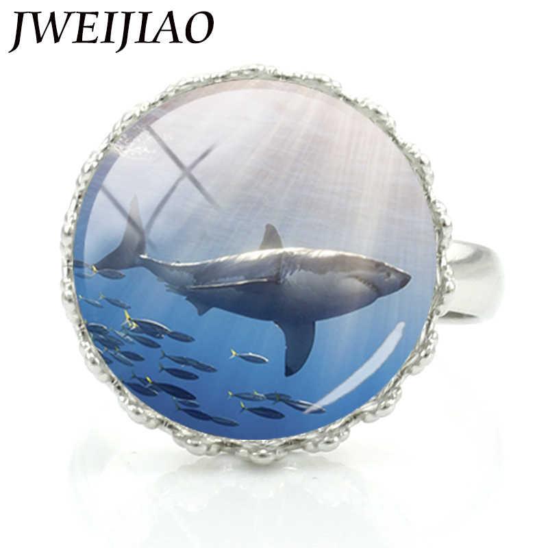 JWEIJIAO 動物サメ王冠リングガラスラップシルバー色女性女の子ユニークな調節可能なサイズの宝石類のギフト E978