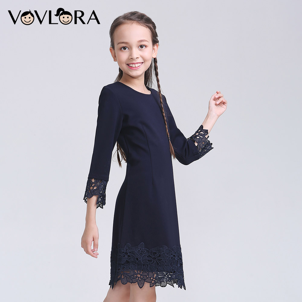 1 2018 School Girls Dress Lace Formal Kids Dresses Winter Knitted School Uniforms For Girls Hot Sale Size   Years In Dresses From Mother