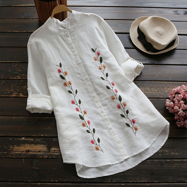 Flower Embroidery Stand Collar Long Sleeve Cotton Linen Blouse Mori Girl 2019 Autumn New Women Shirt Casual White Top