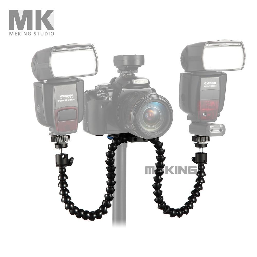 Meking Octopods arm Studio Macro Twin Speedlight Flash Light Speedlite bracket mount holder for Camera