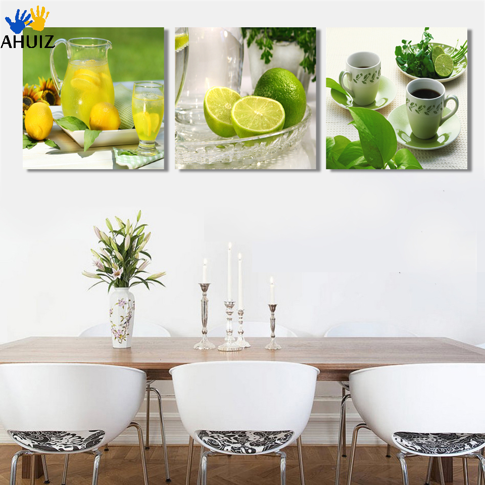 Free shipping 3pcs fruit and tea wall art picture canvas print painting modern home decorative for kitchen wall paintings