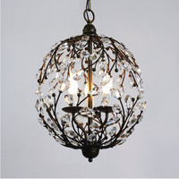 chandeliers lamp American vintage k9 crystal flower E14 bulb home deco living room retro iron ball chandeliers lighting fixture