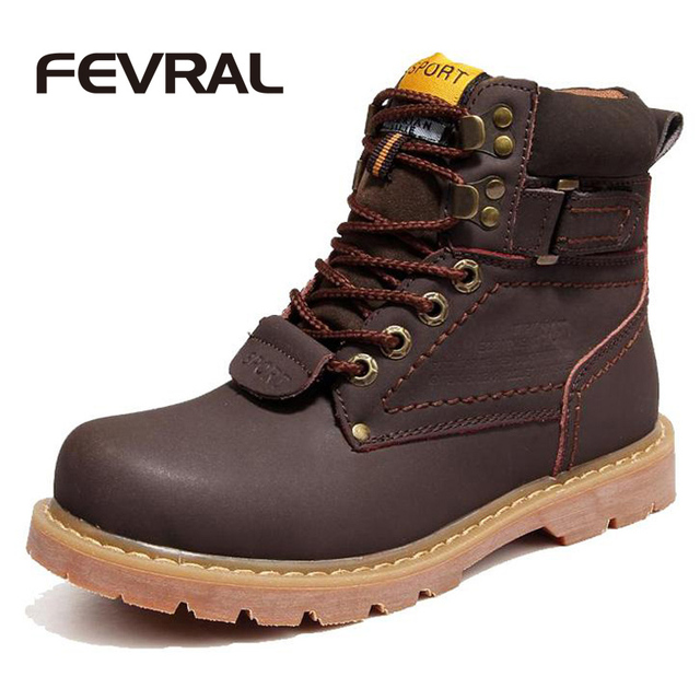 FEVRAL Brand Men Winter Snow Boots Genuine Leather Boots Comfortable With Fur Plus Size Shoes High Quality Anti Slip Work Shoes