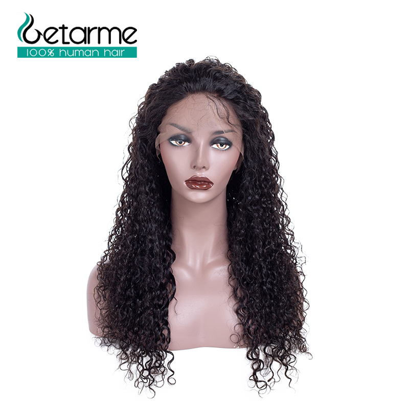 Brazilian Kinky curly Lace Front Human Hair Wigs With Baby Hair 100% human hair Pre Plucked Natural Black Non Remy Getarme Wig