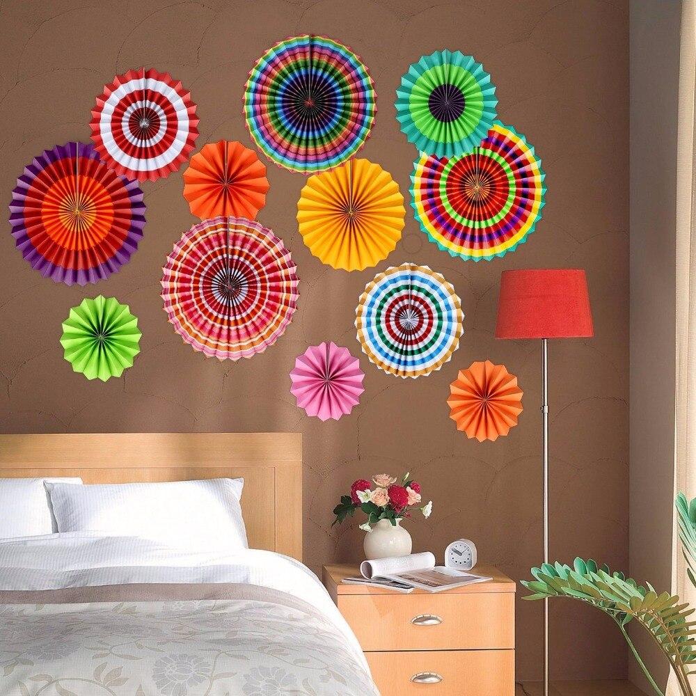 Party Paper Fans Decoration Colored Tissue Paper Flower Fans For