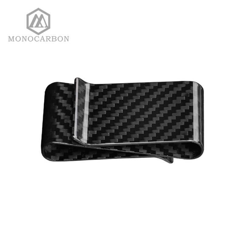 Clip de dinero de doble fibra de carbono de sarga 3K genuino de calidad superior, Clips de dinero multifunción de doble cara de lujo