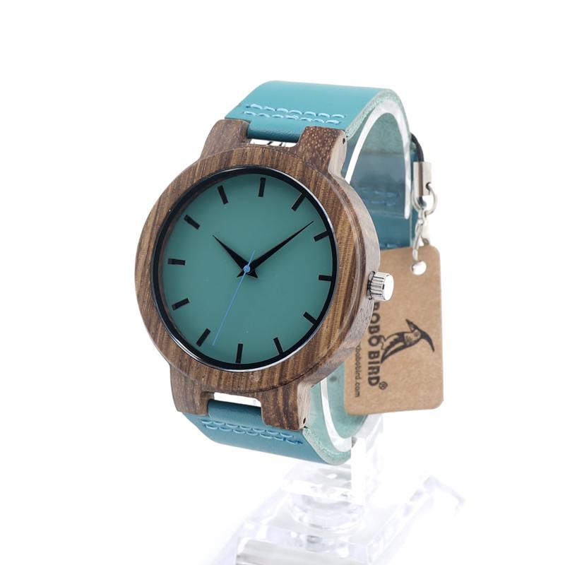 Prix pour Bobo bird marque de montres haut montre en bois avec véritable bleu vache bracelet en cuir quartz analogique casual bois montres c-c28