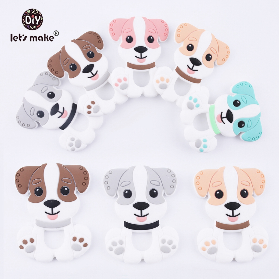 Låt oss göra Baby Teether BPA Gratis Mat Grade Safe Baby Silikon Pärlor Teeting Dogs 20pc Silikon Charms Leksaker Silikon Tether