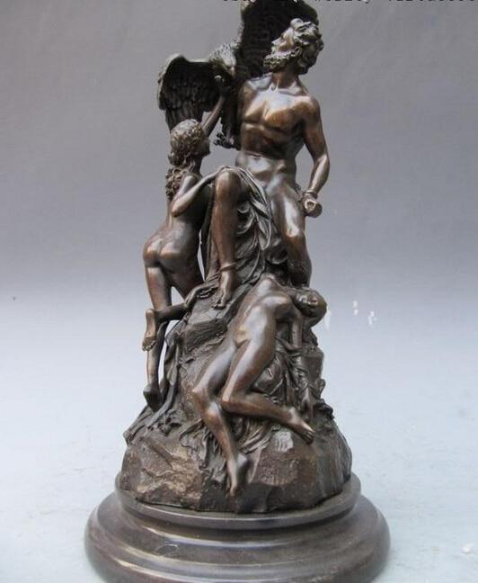 14 ouest Mythologie Grecque Prométhée Enchaîné Nude Cuivre Bronze Statue