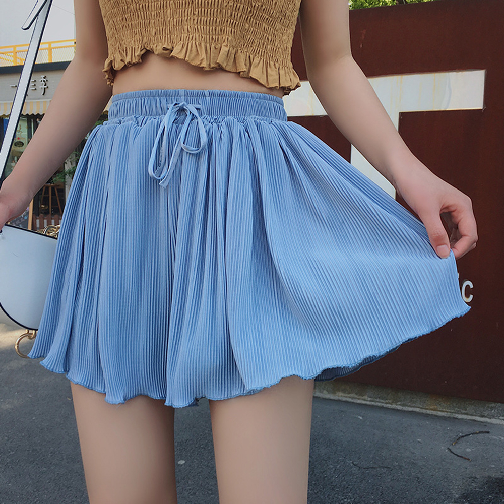 Summer Lace Up Loose   Short   Skirts Casual High Waist Blue Wide Leg   Short   Skirt Pleated Thin Elegant Korean Polyester   Shorts   Women