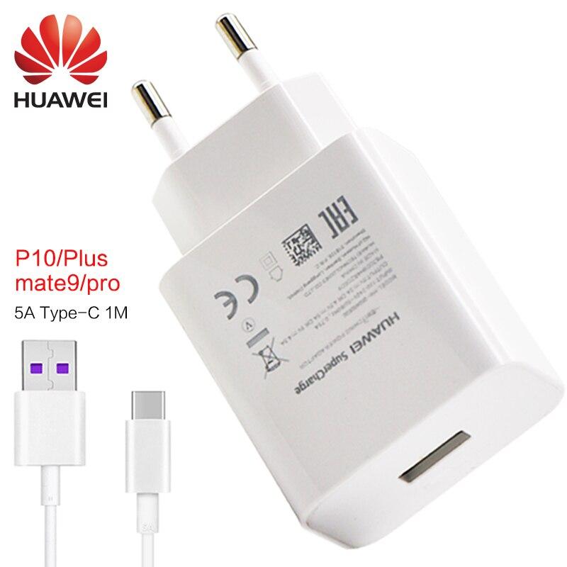 imágenes para Huawei mate 9 Pro P10 más rápido cargador de LA UE/EE.UU./REINO UNIDO 5 v 4.5a y 4.5 v 5a adaptador USB cargador rápido de tipo c cable 1 m 100% Original