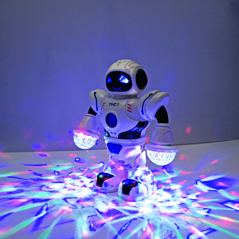 2018 nuevos niños electrónico inteligente espacio Dancing Robot con música LED parpadeante luz para caminar juguetes de Navidad Año nuevo regalo para niño