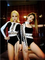 Popstar Latex Bodysuits Lady Team 4 Designs Rompers For Women Black White Sexy Club Dresses