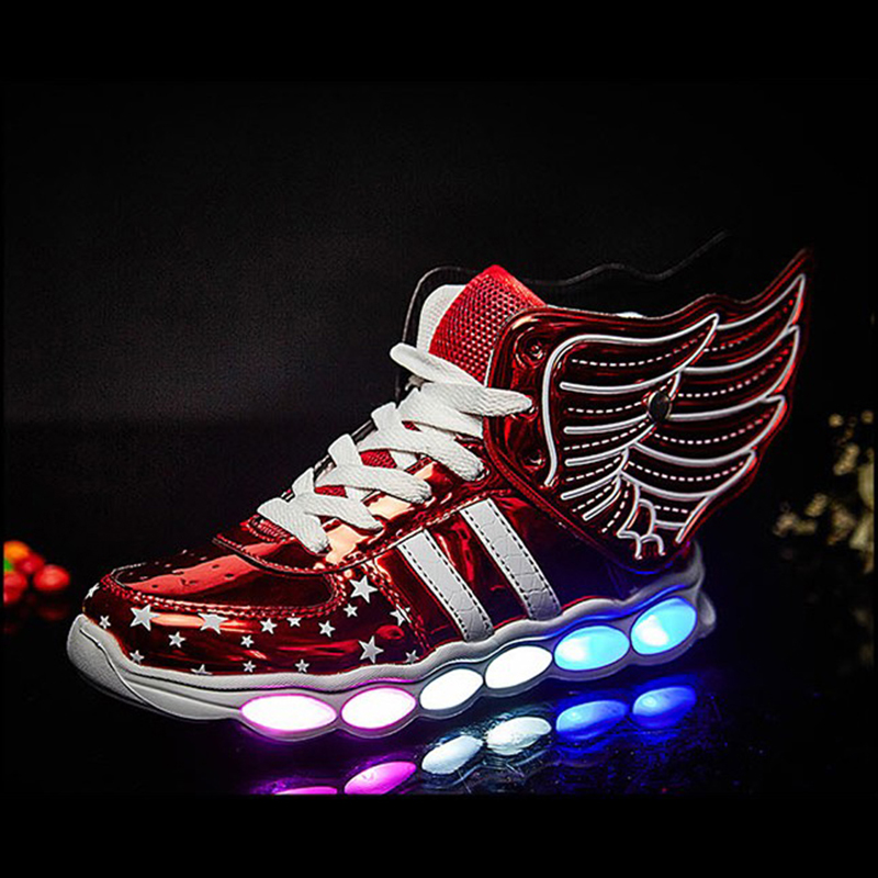 2017 New Children Shoes with Light Fashion Glowing Sneakers Boys Little Girls Shoes Wings Canvas Flats Kids Light Up Shoes ...