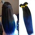 7A peruana virginal recto extensiones de cabello Ombre 3 unids/lote TwoTone 1b / Blue Ombre peruana recta del pelo humano de la armadura azul