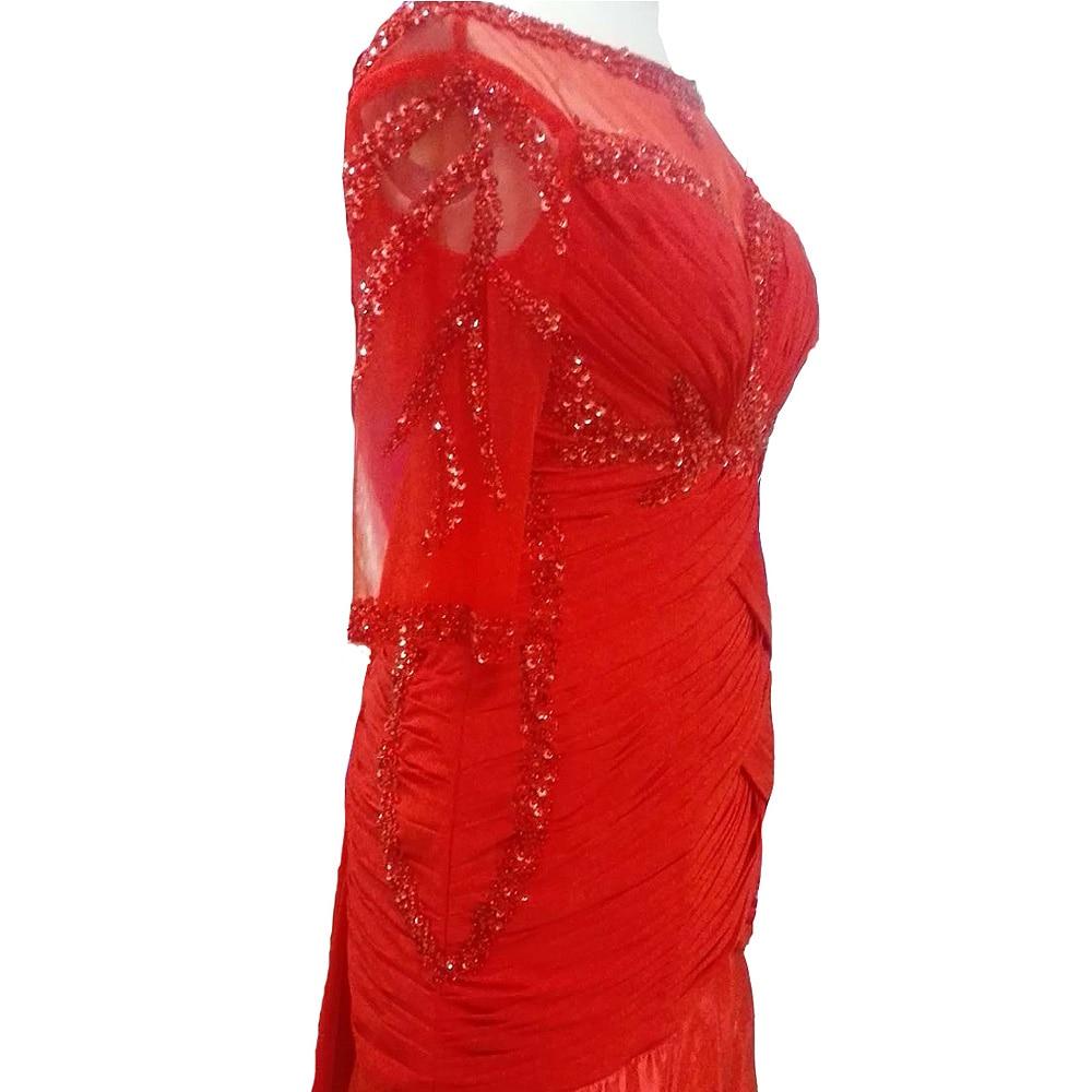 E JUE SHUNG Röd Chiffong Beaded Aftonklänningar Lång 2017 Halva - Bröllopsfestklänningar - Foto 5