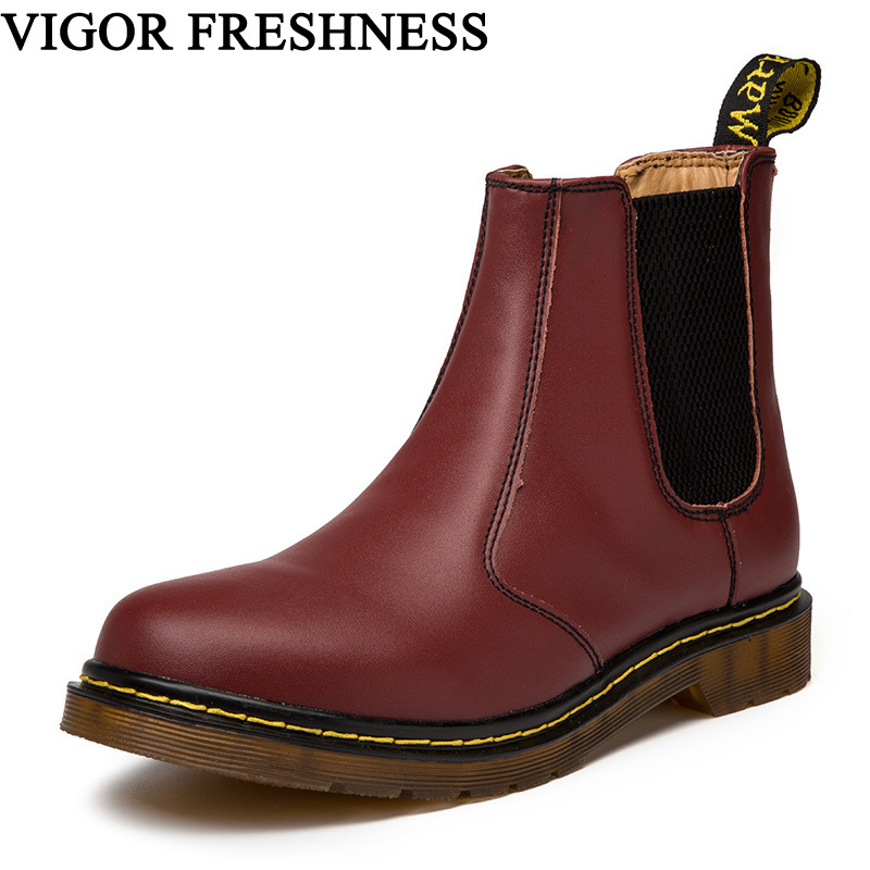 VIGOR FRESHNESS Brand Shoes Woman Ankle Boots Women Genuine Leather Flat Boots Punk Short Ladies Motorcycle Boots Oxford S54VIGOR FRESHNESS Brand Shoes Woman Ankle Boots Women Genuine Leather Flat Boots Punk Short Ladies Motorcycle Boots Oxford S54