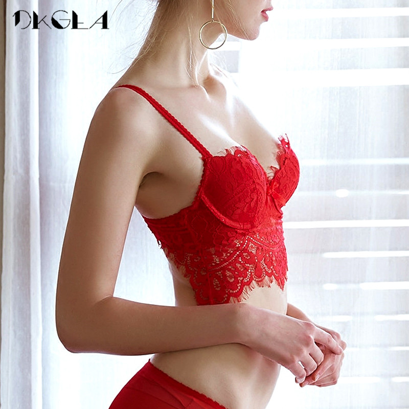 Fashion Red Lace Lingerie Sexy Bra Set Push Up Brassiere B C Cup Underwear Women Sets Thick Cotton Comfortable Bra Panties Set