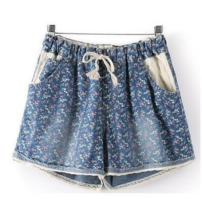 2019 Hot Summer Style New Women Casual Denim Shorts With Elastic High Waist Floral Star Printed For Crop Top