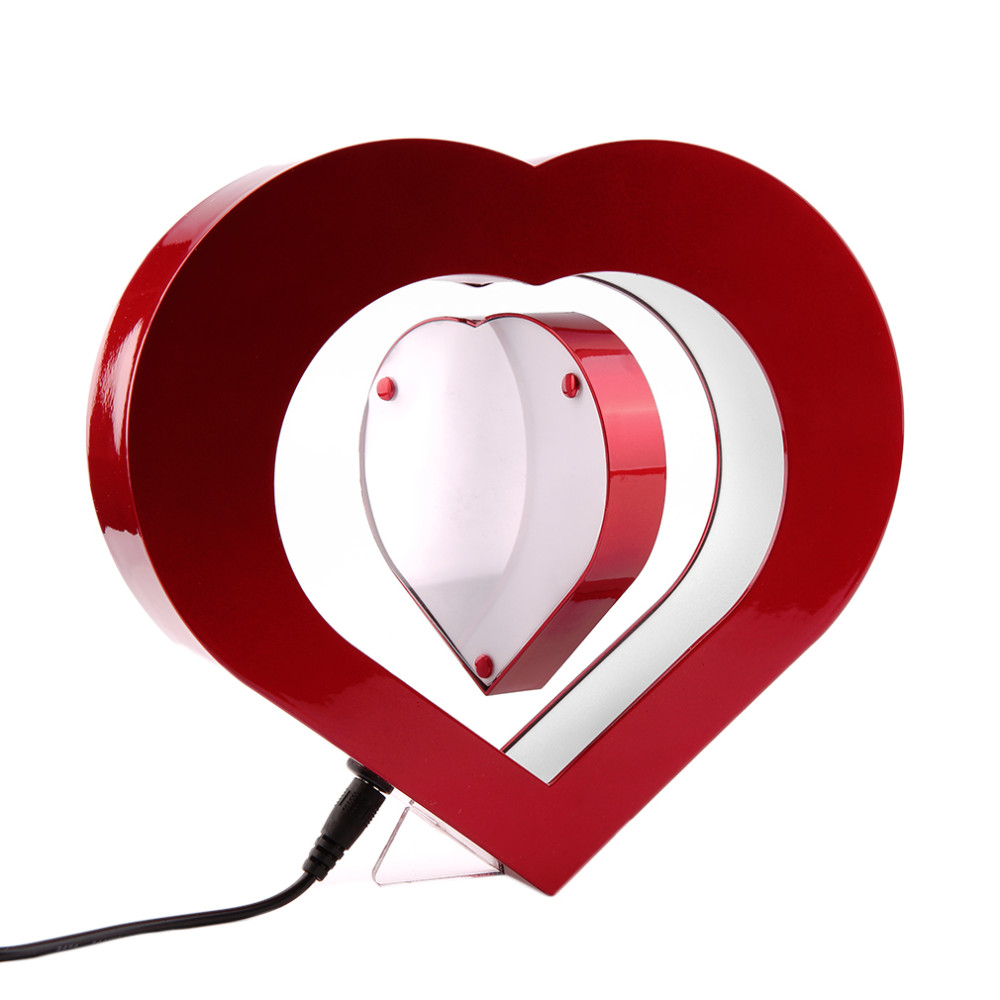 New Floating Photo Frame LED Light Red Heart Shaped Magnetic ...