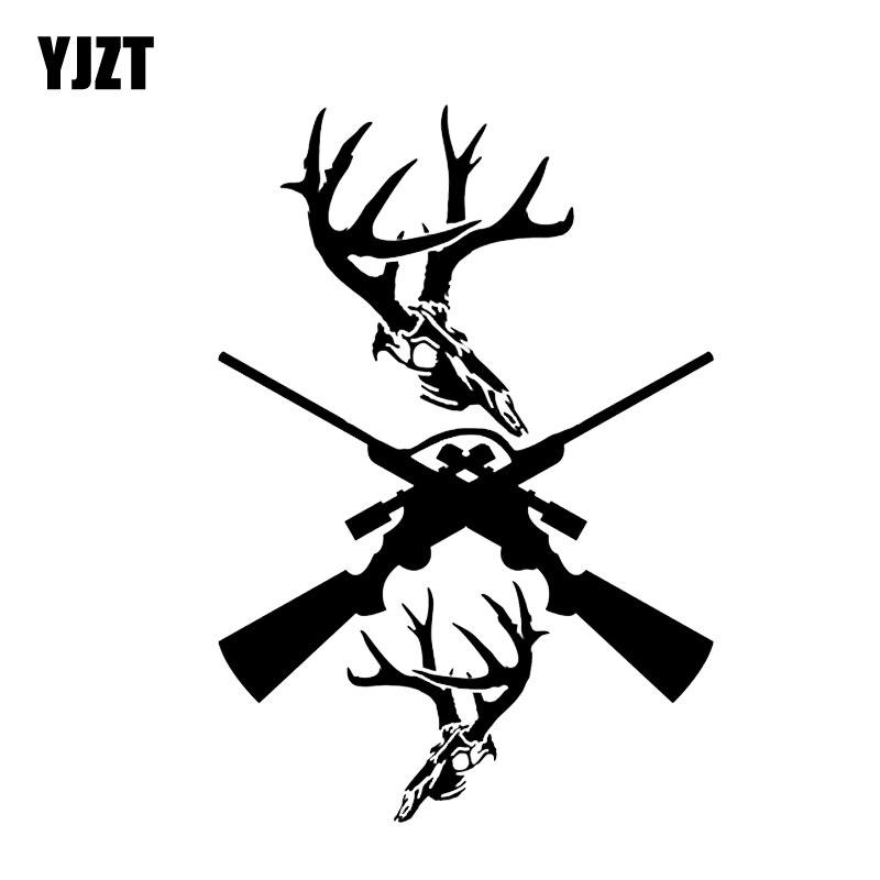YJZT 12.4*18CM Interesting Gun Hunting Deer Car Sticker Graphic Motorcycle Accessories Vinyl C12-0231