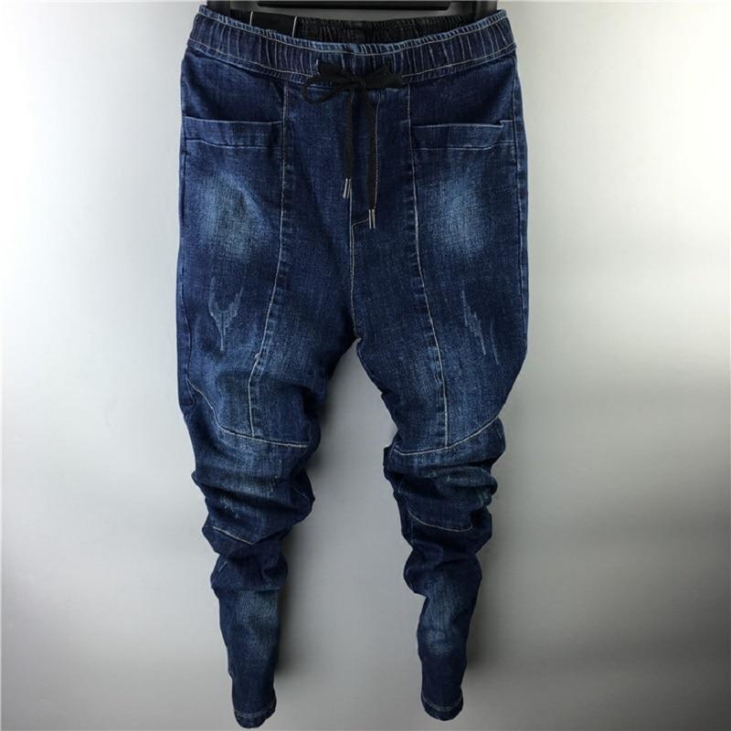 Spring Summer Blue   Jeans   Men Pockets Pleated Chic Harem Denim Pants Slim Pencil Pants Trend Long Trouser Plus Size 28-40 MK0091