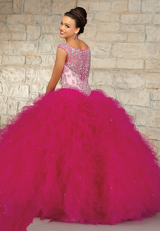 Aliexpress.com : Buy Charming Fuchsia Color Sheer Quinceanera ...