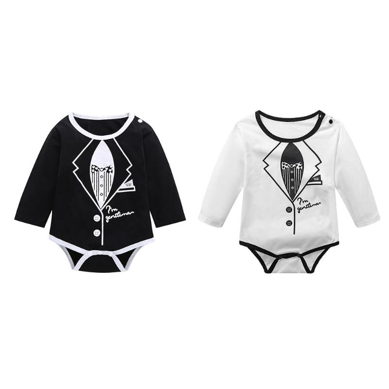c8985313a346 2019 Autumn Baby Rompers Long Sleeve O Neck Cotton Buttons Jumpsuit ...