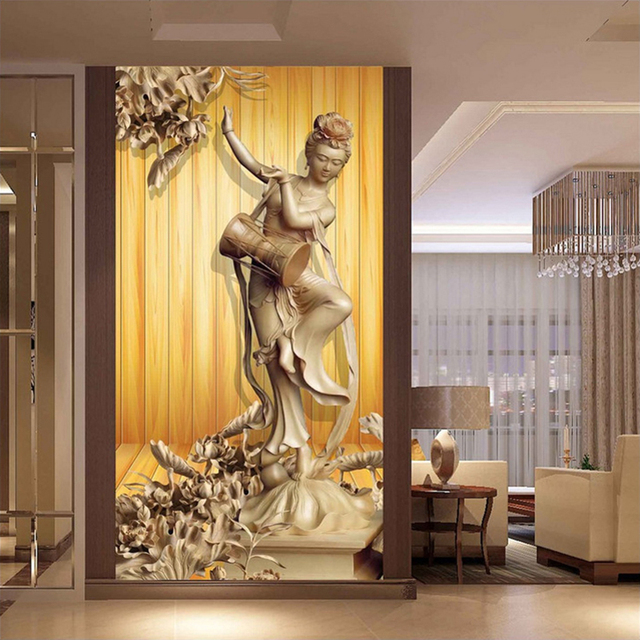 Home Interior Decoration 3D Mural Wood Board Wood Carving Beauty ...