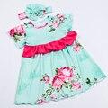 2016 nueva ropa de bebé recién nacido bebé de los mamelucos florales con diadema boutique toddler traje de navidad bebé gils ropa