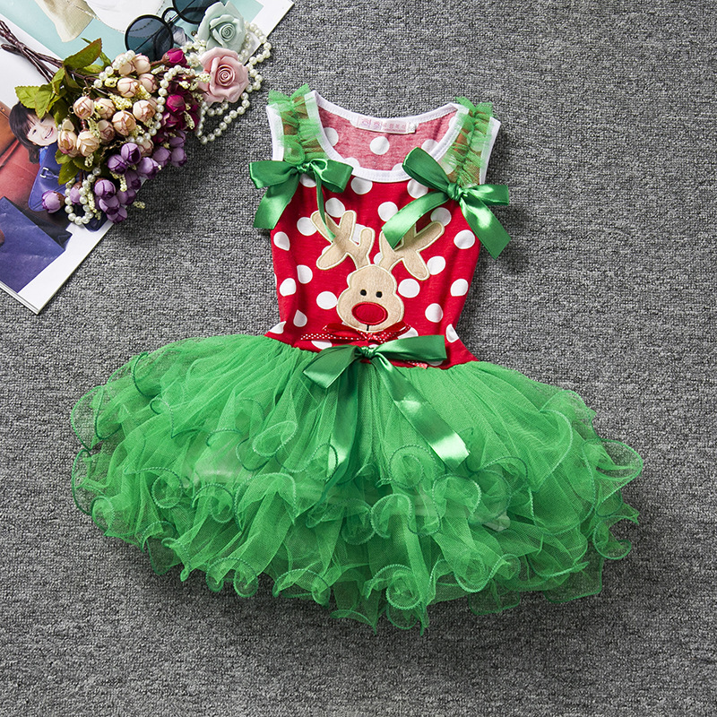 Fancy New Kids Baby Girls Deer Striped Princess Dress Christmas Outfits Clothes Backelss Summer COSPLAY Dress