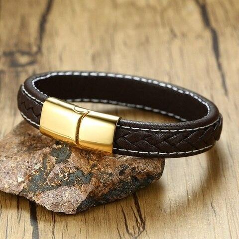 Браслет мужской кожаный браслет из нержавеющей стали золотистого